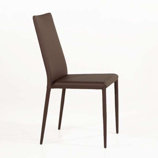 Chaise contemporaine en cuir marron - Bea 2 - 3