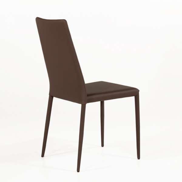 Chaise contemporaine en cuir marron - Bea 3 - 4