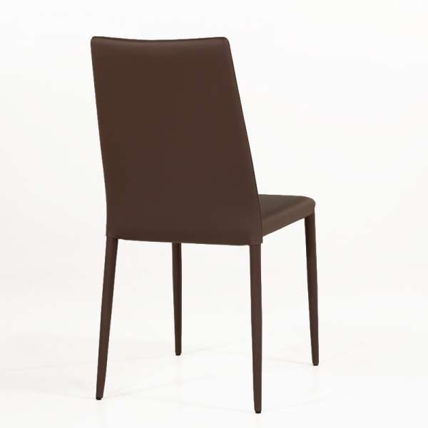 Chaise contemporaine en cuir marron - Bea 4 - 5