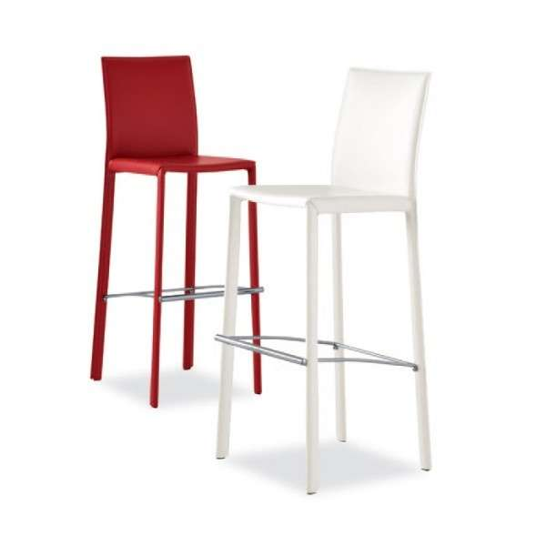 Tabouret snack ou bar en cro te de cuir ou synderme eliot 4 pieds table - Tabourets de bar 4 pieds ...