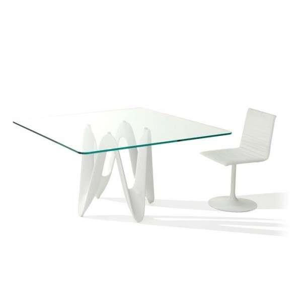 Table en verre design carr e 140 x 140 cm lambda sovet - Table en verre carre ...