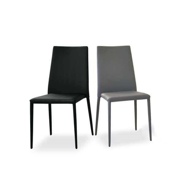 Chaise contemporaine en vinyl gris et noir - Bea - 2