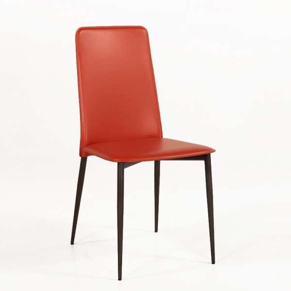 Chaise contemporaine en croûte de cuir -  Ely Plus