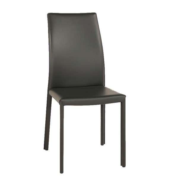 Chaise de salle à manger en croûte de cuir ou synderme noir - Giada - 2