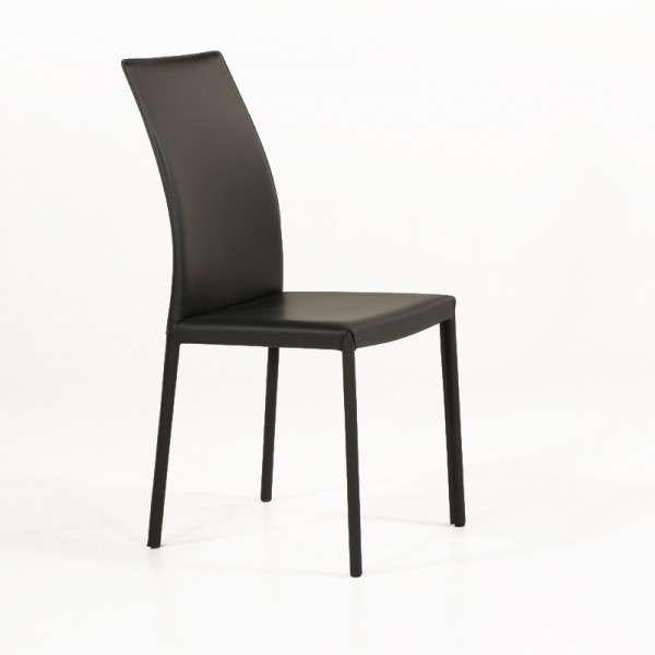 Chaise de salle à manger en croûte de cuir ou synderme noir - Giada 2 - 3