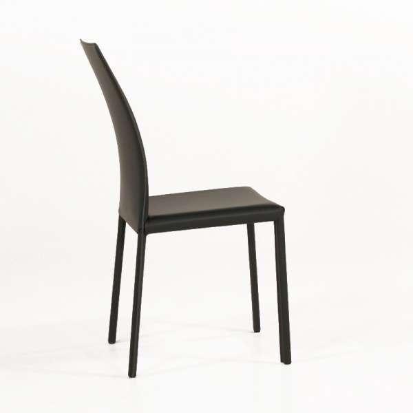 Chaise de salle à manger en croûte de cuir ou synderme noir - Giada 4 - 5