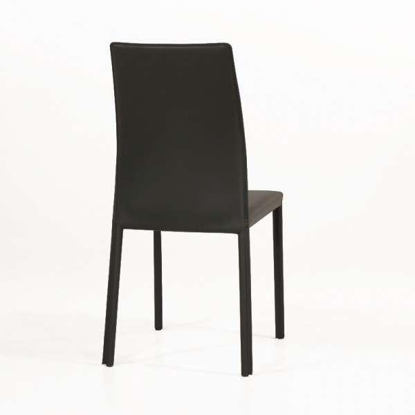 Chaise de salle à manger en croûte de cuir ou synderme noir - Giada 5 - 6