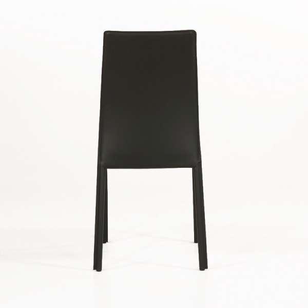 Chaise de salle à manger en croûte de cuir ou synderme noir - Giada 6 - 7
