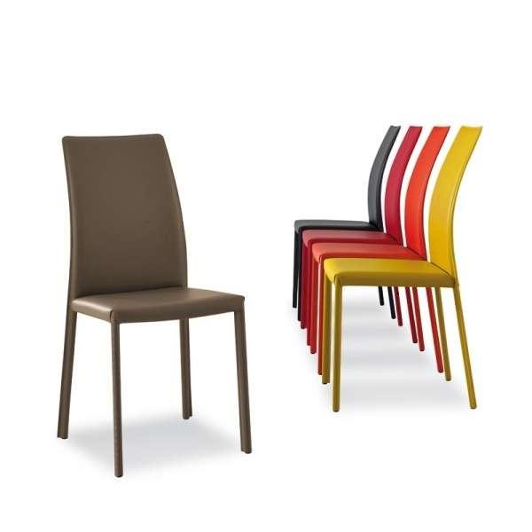 Chaise de salle à manger en croûte de cuir ou synderme - Giada - 10
