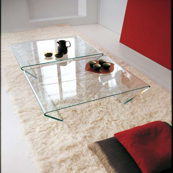 Table basse design rectangulaire ou carr e en verre rubino sovet 4 pieds - Table basse design verre ...