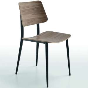 Chaise vintage en bois teinte noyer - Joe Midj®