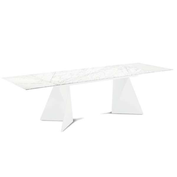 Table design extensible en marbre blanc - Euclide 2 - 4