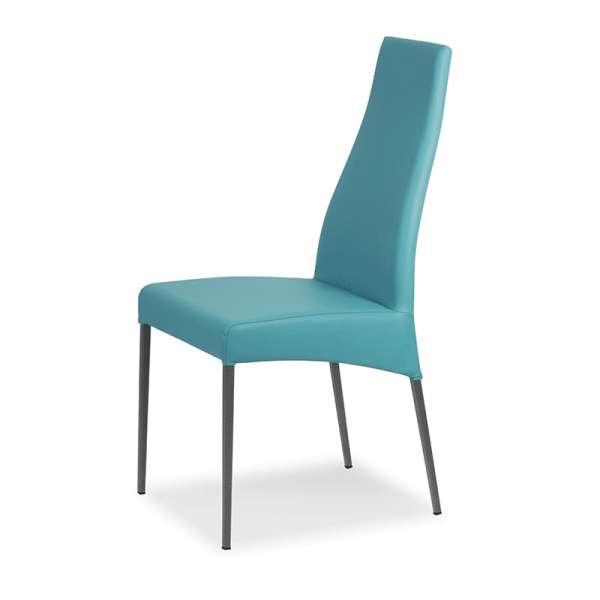 Chaise de salle à manger en vinyl turquoise - Carla - 3