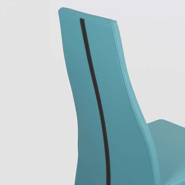 Chaise de salle à manger en vinyl turquoise - Carla 2 - 4