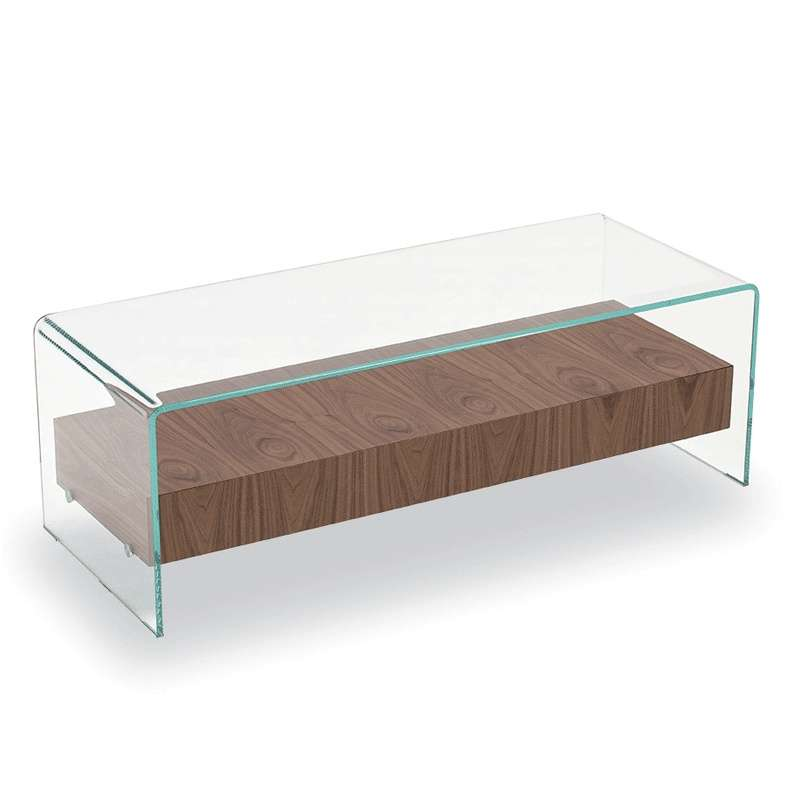 table basse en verre avec tiroir en bois bridge sovet 4 pieds tables chaises et tabourets. Black Bedroom Furniture Sets. Home Design Ideas