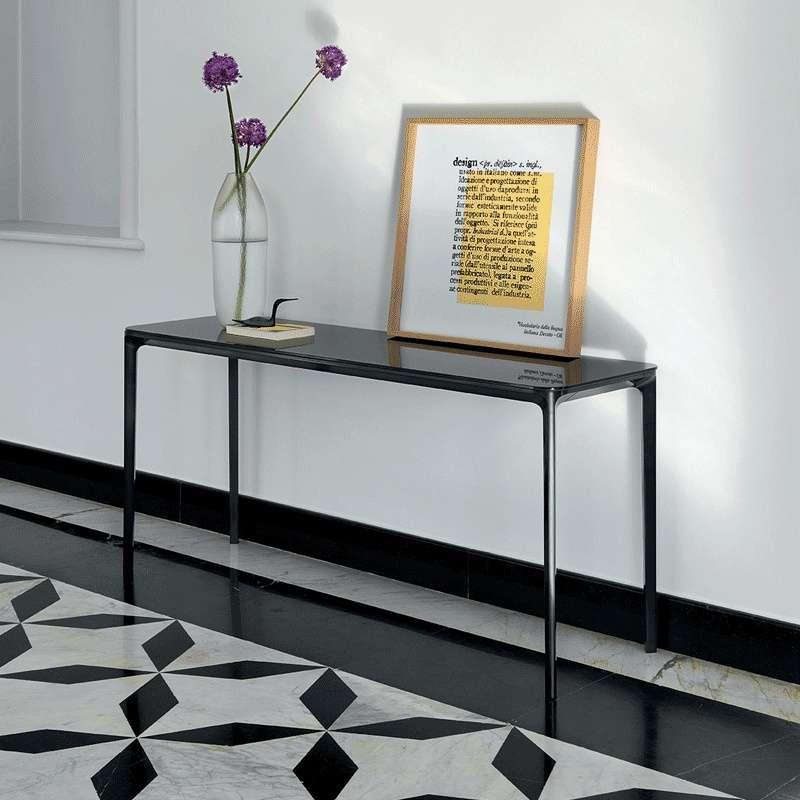 Console design en verre slim sovet 4 pieds tables chaises et tabourets - Console en verre la foir fouille ...