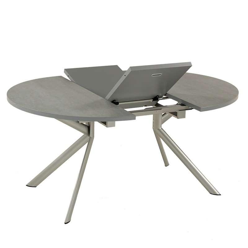 Table ronde extensible en c ramique giove 4 pieds tables chaises et tabourets - Table pied central extensible ...
