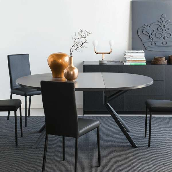 table ronde extensible en c ramique giove 4 pieds. Black Bedroom Furniture Sets. Home Design Ideas