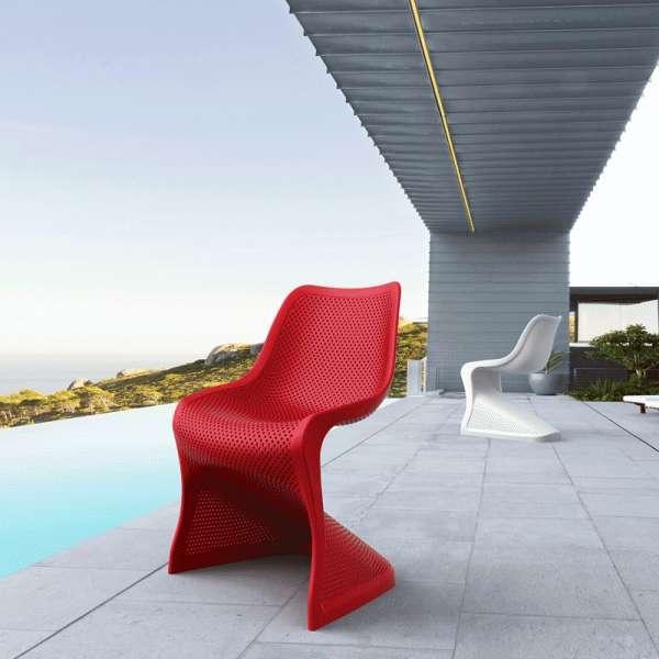 Chaise design en polypropylène rouge ajouré - Bloom - 2