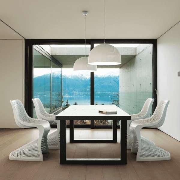 Chaise design en polypropylène blanc ajouré - Bloom - 4