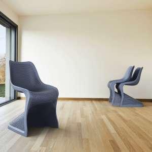 Chaise design en polypropylène gris anthracite ajouré - Bloom