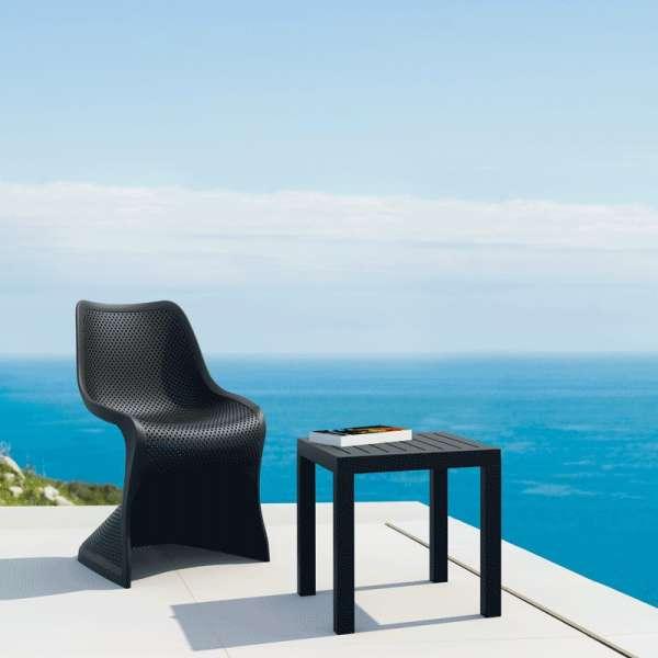 Chaise design ajourée en polypropylène noir - Bloom - 6