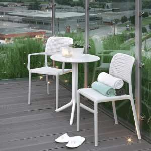 Fauteuil de jardin en polypropylène blanc - Bora