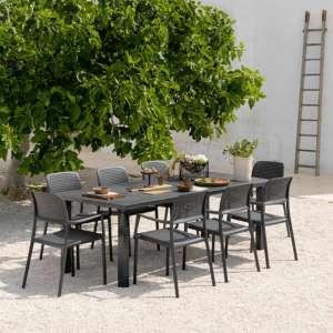 Table de jardin avec allonge en polypropylène anthracite - Levante