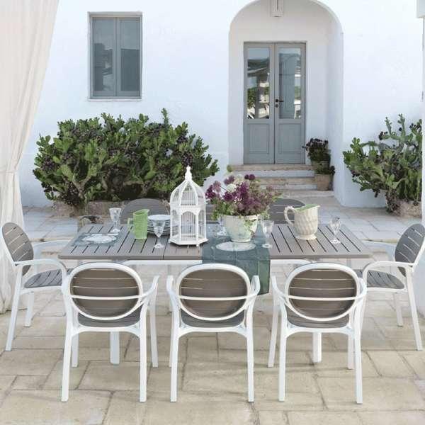 Fauteuil de jardin en polypropylène blanc et taupe - Palma - 5