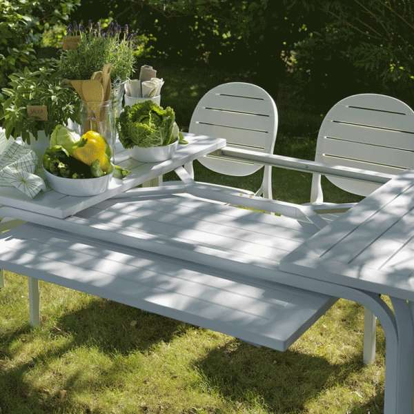 Table de jardin extensible en polypropylène blanc - Alloro - 3
