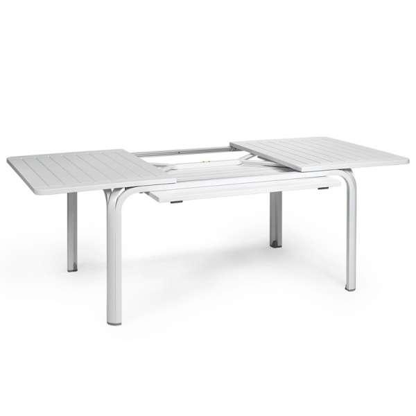 Table de jardin avec allonge en polypropylène blanc - Alloro 140 - 6