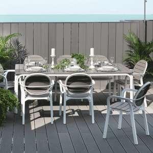 Table de jardin extensible en polypropylène blanc et taupe - Alloro