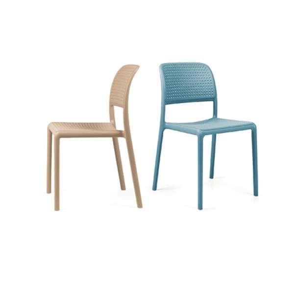 Chaise de jardin en polypropylène sable et bleu - Bora Bistrot - 2