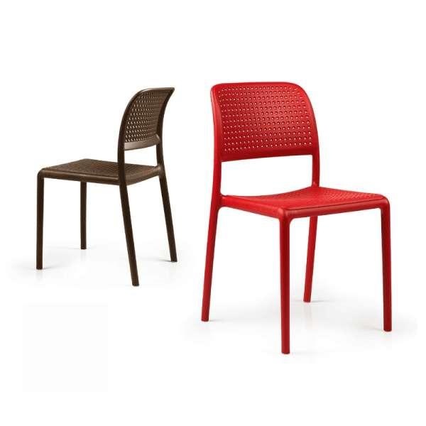Chaise en polypropylène rouge ou café - Bora Bistrot - 1