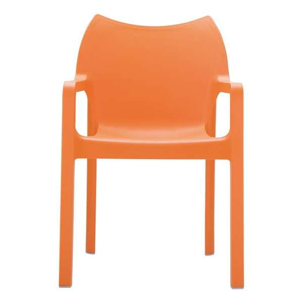 Fauteuil de jardin en polypropylène orange - Diva  - 3