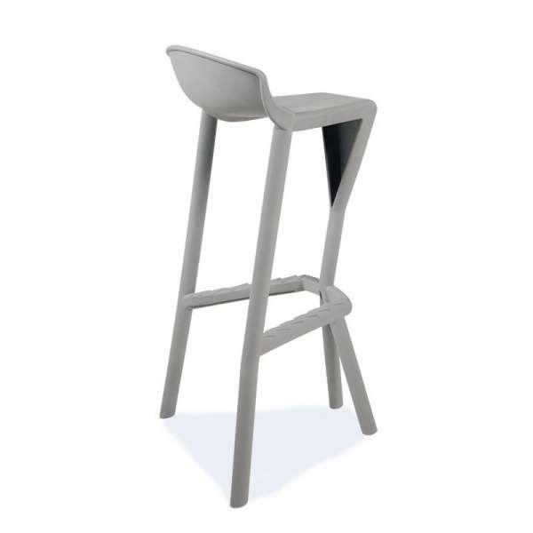 Tabouret de jardin design en plastique gris - Shiver 3 - 5