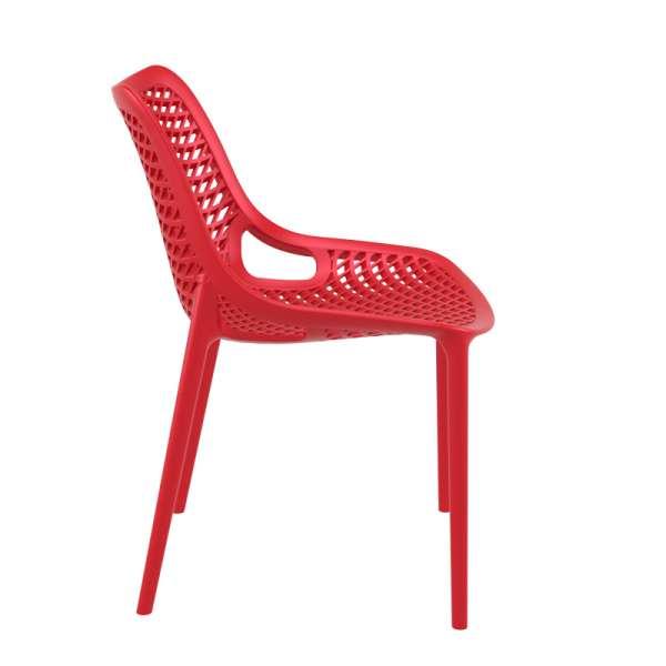 Chaise de jardin moderne ajourée en plastique rouge - Air - 6
