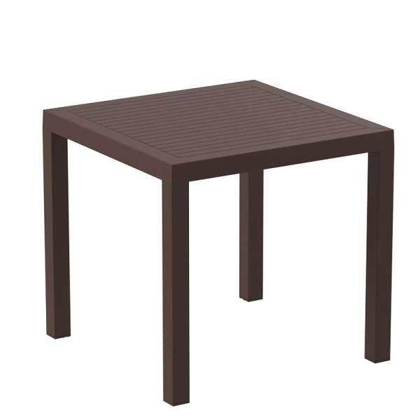 Table de terrasse carrée en plastique marron - Ares - 8