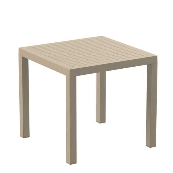 Table de terrasse carrée en polypropylène beige - Ares - 12