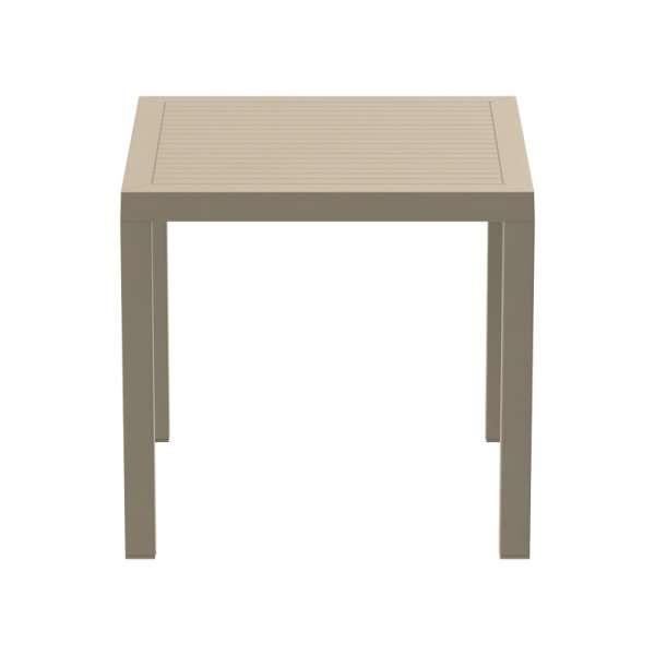 Table de terrasse carrée en plastique beige - Ares - 13