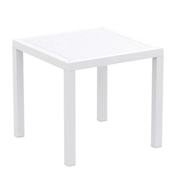 Table de terrasse carrée en polypropylène blanc - Ares - 16