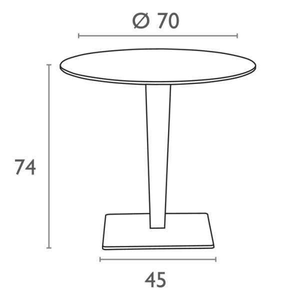 Table de jardin ronde en résine tressée et plateau werzalit - Riva - 5