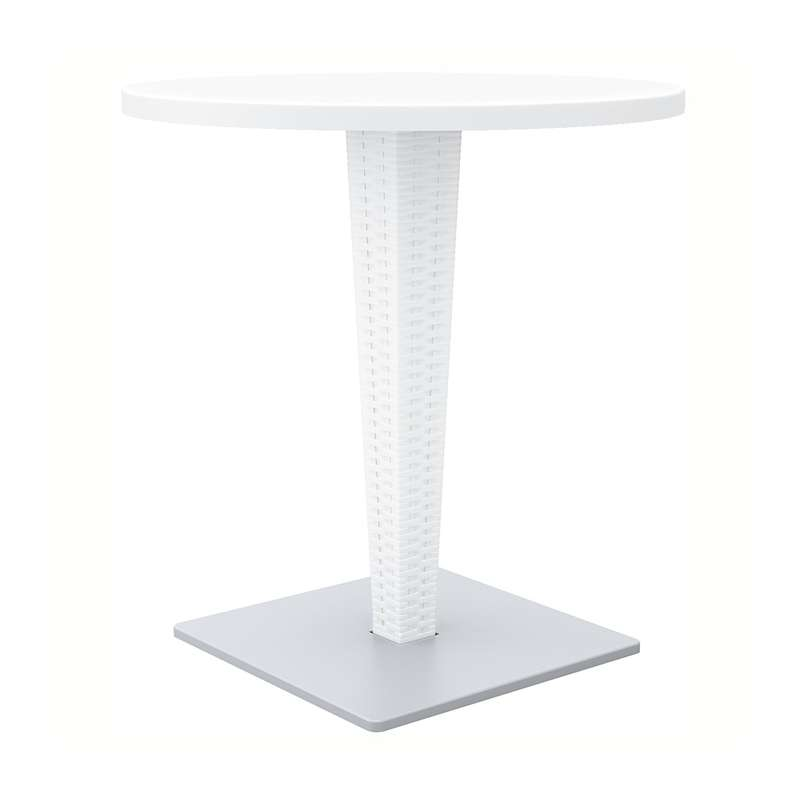 Table de jardin ronde en r sine tress e et plateau werzalit riva 4 pieds - Table ronde en resine tressee ...