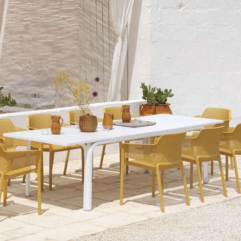 Salon de jardin en polypropyl ne et aluminium alloro net 4 pieds tables - Salon jardin polypropylene ...