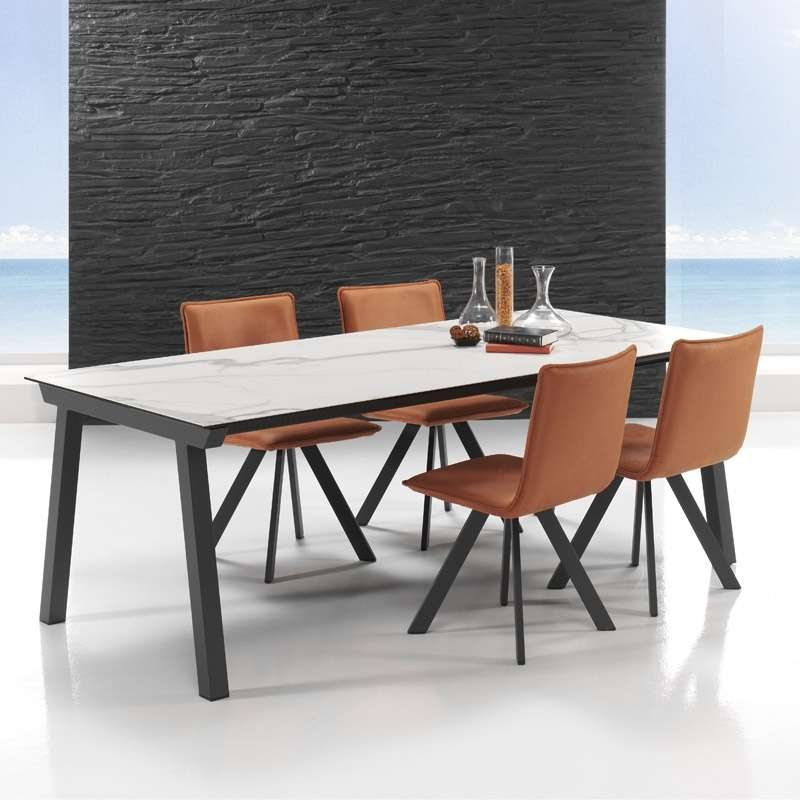 table moderne extensible en c ramique benidorm moblib rica 4 pieds tables chaises et. Black Bedroom Furniture Sets. Home Design Ideas