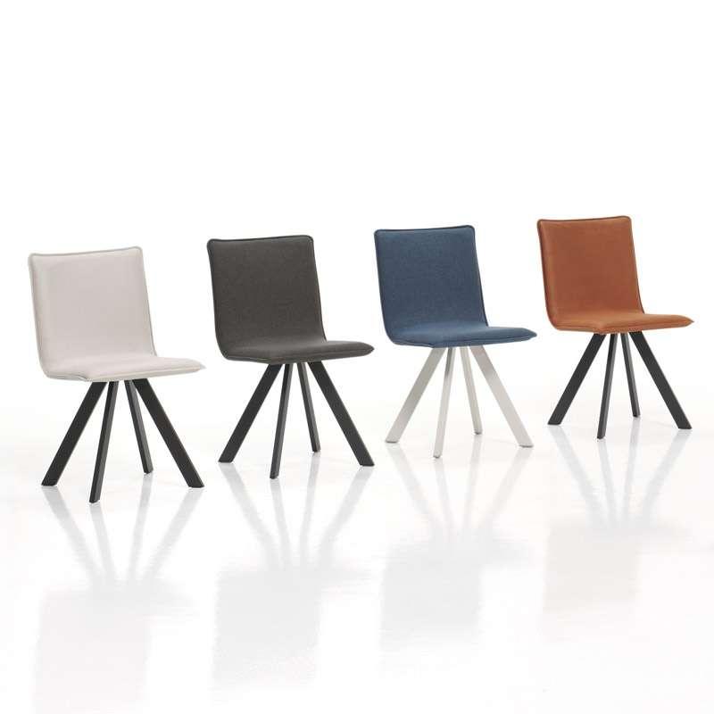 chaise moderne en tissu et m tal denia moblib rica 4. Black Bedroom Furniture Sets. Home Design Ideas