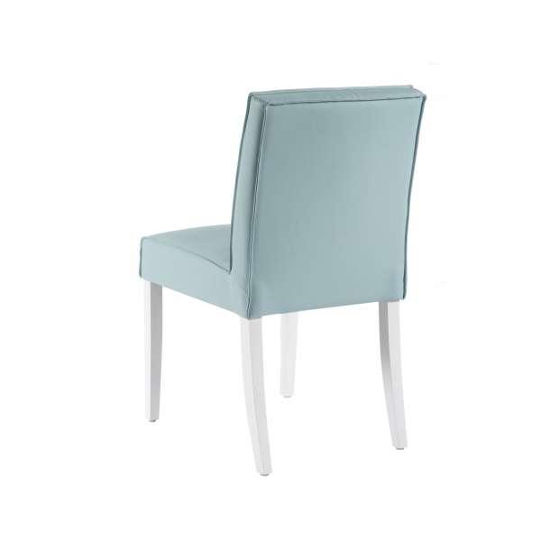 Chaise contemporaine bleue en vinyle et bois - Carpe - 4