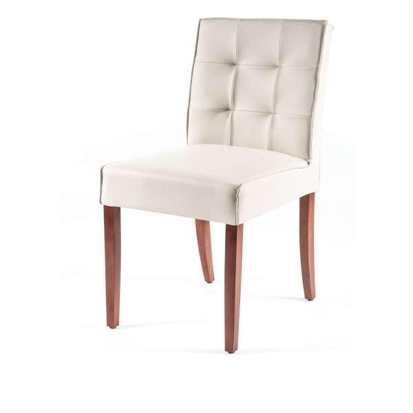 Chaise contemporaine matelassée en vinyl et bois - Carpe - 4