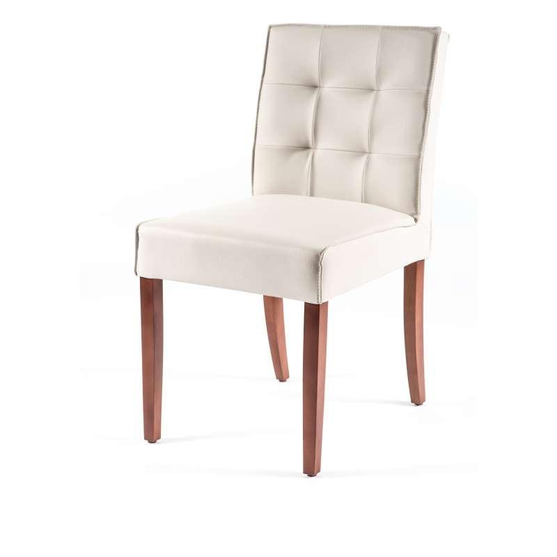 Chaise matelass e en vinyl et bois carpe 2 4 pieds - Chaise contemporaine bois ...