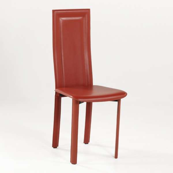 Chaise de salle à manger en croûte de cuir - Tess